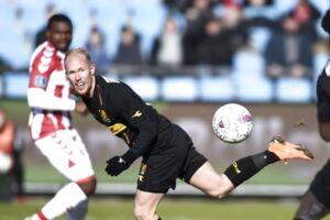 Mikkel Rygaard i aktion i Superliga-kampen imellem AAB og FC Nordsjælland. (Foto: Henning Bagger/Scanpix 2018)