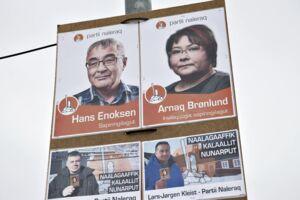 Valgplakater til det grønlandske landstingvalg i gaderne i Nuuk, torsdag den 19. april 2018.