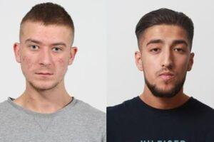 Mikkel Møldrup Jensen (tv.) og Noah Altibay er efterlyst. De er mistænkt for at have medvirket i et groft biltyveri hos en bilforhandler i Viborg tidligere i maj.