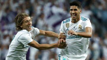 Marco Asensio scorede til 1-0 allerede efter fire minutter. Her jagtes han af holdkammeraten Luka Modric.