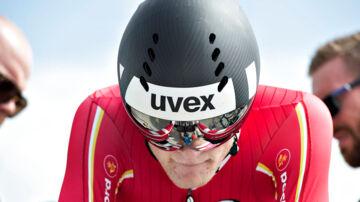 """EM Landevejscykling, Herning, enkeltstart junior herrer, 2.august : Julius Johansen, Danmark varmer op på """"ruller"""". (foto: Henning Bagger / Scanpix 2017)"""
