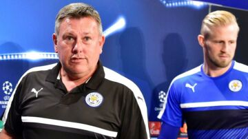 Kasper Schmeichel (th) skal have ny chef, da Leicester City har fået manager Craig Shakespeare (tv).