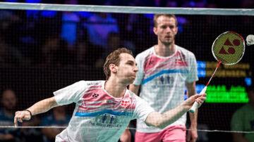 18.10.2017 - Badminton - DANISA Denmark Open 2017 - Odense. Herrer Double - Danske Mathias Boe (tv) og Carsten Mogensen mod hollandske Jelle Maas og Robin Tabeling. (Foto: Claus Fisker/Scanpix 2017)