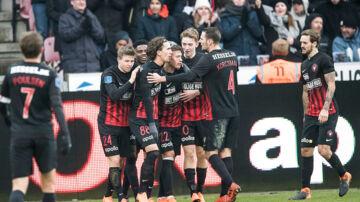 Mikkel Duelund (FC Midtjylland - 22) har scoret til 2 - 1. Alka Superliga FC Midtjylland FCK. Søndagden 18 februar 2018. MCH Arena Herning.. (Foto: Claus Fisker/Scanpix 2018)