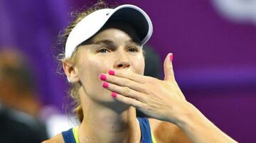 epa06533743 Caroline Wozniacki of Denmark reacts after her match against Angelique Kerber of Germany during the quarter finals of the WTA Qatar Ladies Open tennis tournament at the International Khalifa Tennis Complex in Doha, Qatar, 16 February 2018. EPA/NOUSHAD THEKKAYIL