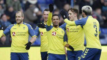 Hany Mukhtar i jubel efter sin 2-0-scoring for Brøndby mod FC Helsingør. (Foto: Claus Bech/Scanpix 2018)