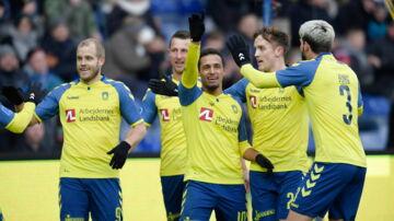 Brøndby jubler under ALKA Superliga-kampen imellem Brøndby og FC Helsingør på Brøndby Stadion, , søndag den 25. februar 2018.. (Foto: Claus Bech/Scanpix 2018)