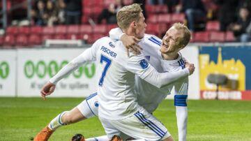 Viktor Fischer (7), FC København og Nicolai Boilesen (20), FC København, jubler efter målet til 2-1, under Alka Superliga-kampen mellem FC København og AaB I Telia Parken onsdag den 18. april 2018.