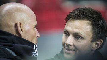 FC Københavns cheftræner Ståle Solbakken (t.v.) føler med William Kvist. (Foto: Sarah Christine Nørgaard/Scanpix 2017)