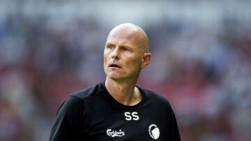 FC Københavns cheftræner, Ståle Solbakken, ser vantro til i slutningen af superligakampen mellem FC København og AC Horsens i Telia Parken i København mandag den 16. juli 2018.