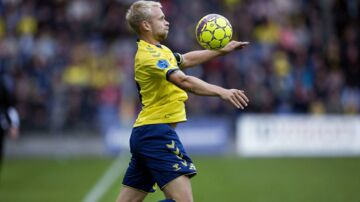 Johan Larsson under søndagens kamp mod Sønderjyske.