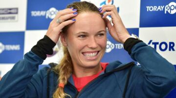 Denmark's Caroline Wozniacki smiles during a press conference at the Pan Pacific Open tennis tournament in Tokyo on September 17, 2018. (Photo by Kazuhiro NOGI / AFP)