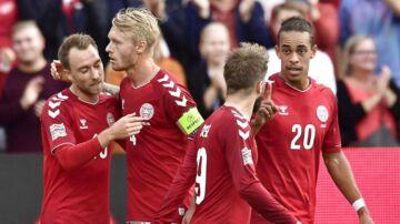 Christian Eriksen, Simon Kjær, Lasse Schöne og Yussuf Poulsen i Nations League-kampen mod Wales senest.