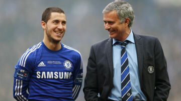 FILE PHOTO: Former Chelsea manager Jose Mourinho and Eden Hazard at Wembley Stadium - 1/3/15. Action Images via Reuters / Matthew Childs/File Photo