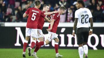 Danmarks Lukas Lerager har netop scoret til 1-0 under venskabskampen mellem Danmark og Østrig på MCH Arena i Herning. (Foto: Bo Amstrup/Ritzau Scanpix)