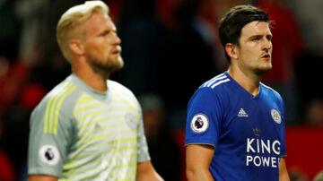 Harry Maguire og Kasper Schmeichel er holdkammerater i Premier League-klubben Leicester City.