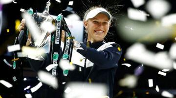 Så glad var Caroline Wozniacki efter sin finalesejr over Venus Williams i fjor ved WTA Finals i Singapore.