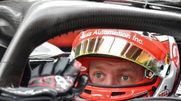 Haas F1's Danish driver Kevin Magnussen is pictured at the Interlagos pits during the third free practice session of the F1 Brazil Grand Prix, at the Interlagos racetrack in Sao Paulo, Brazil on November 10, 2018. - . (Photo by NELSON ALMEIDA / AFP)