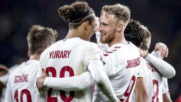 Danmarks Nicolai Jørgensen (9) scorer til 0-1 under Nations League-kampen mellem Wales og Danmark på Cardiff City Stadium i Cardiff, fredag den 16. november 2018.. (Foto: Mads Claus Rasmussen/Ritzau Scanpix)
