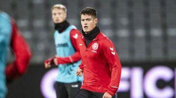 Danmarks Christian Nørgaard under træningen forud for mandagens kamp mod Irland på Ceres Park i Aarhus.