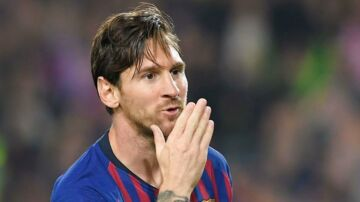 Barcelona's Argentinian forward Lionel Messi celebrates after scoring during the Spanish league football match FC Barcelona against Sevilla FC at the Camp Nou stadium in Barcelona on October 20, 2018. (Photo by LLUIS GENE / AFP)