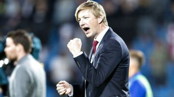 Allan Gaarde jubler efter en sejr over FC København i maj.