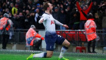 "Soccer Football - Premier League - Tottenham Hotspur v Burnley - Wembley Stadium, London, Britain - December 15, 2018 Tottenham's Christian Eriksen celebrates scoring their first goal Action Images via Reuters/Andrew Couldridge EDITORIAL USE ONLY.No use with unauthorized audio, video, data, fixture lists, club/league logos or ""live"" services. Online in-match use limited to 75 images, no video emulation.No use in betting, games or single club/league/player publications. Please contact your account representative for further details."