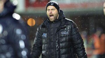 SønderjyskEs træner Claus Nørgaard i Superliga-kampen mellem Hobro IK og SønderjyskE på DS Arena i Hobro , 8. december 2018.