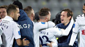 AGF's Pierre Kanstrup har scoret tilæ 1-0 i Superligakampen mellem AGF og Hobro IK på Ceres Park i Aarhus , mandag 17. december 2018.