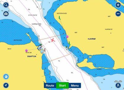 Dette var ruten, som Mark Thorup og hans familie sejlede. Det røde kryds indikerer stedet, hvor svømmerne lå.