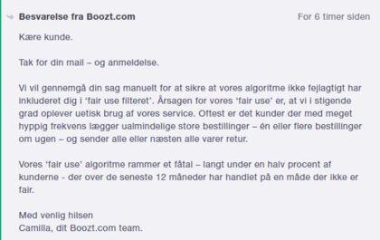 Her kan du læse det svar, som utilfredse brugere har modtaget på Trustpilot.