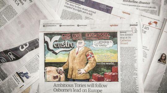Hvornår er satiren god og skarp, og hvornår er den for meget? The Guardians satiretegning fik bølgerne til at gå højt i Dannevang. I Storbritannien er barske satiretegninger hverdag. Foto: Asger Ladefoged