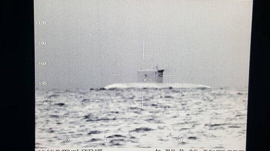 Billedet af en russisk ubåd er taget ud for Møn den 26. oktober sidste år.