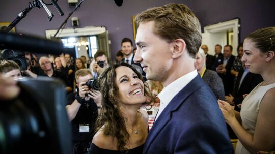 Morten Messerschmidt fra Dansk Folkeparti var den store sejrherre ved valget til Europa-Parlamentet i 2014. Her sammen ses han sammen med kæresten med Dot Wessmann.