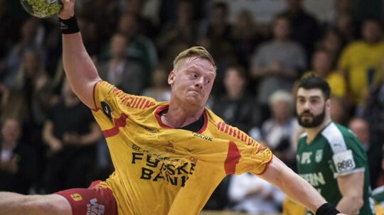 GOG's håndboldherrer vandt med 34-26 ude over grundspilsvinderen, Aalborg Håndbold. Her ses GOG's Henrik Jakobsen under en tidligere kamp.