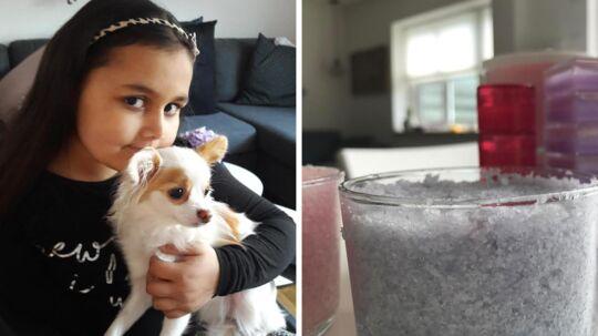 Her ses Chaklin Andersen med familiens hund, Luna, og sine produkter.