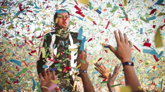 Arkivfoto fra det canadiske band Arcade Fires optræden på NorthSide Festival i 2014.