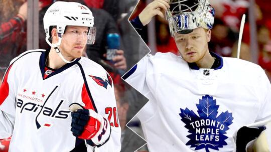 Toronto-målmanden Frederik Andersen (th.) var hovedårsagen til, at Toronto blev en trussel mod storfavoritterne fra Washington Capitals i NHL-ottendedelsfinalen, mener Capitals' Lars Eller (tv.).