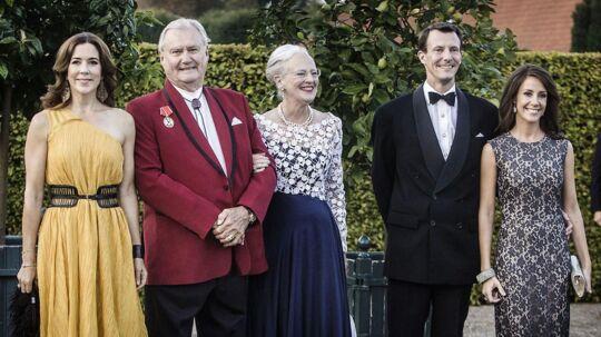 Dronning Margrethe, Prinsgemal Henrik, H.K.H. Kronprinsesse Mary samt D.K.H. Prins Joachim og Prinsesse Marie ses her i 2014 i anledning af Røde Kors 150 års jubilæum.