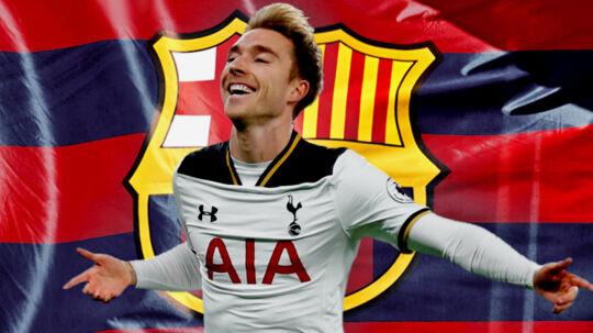 Christian Eriksen spiller i øjeblikket for Tottenham, men efter sommeren kan han blive den kun femte dansker i Barcelona-trøjen nogensinde.