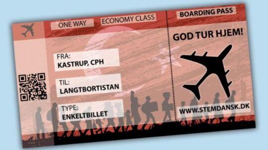 Sådan så den fiktive flybillet ud. Et tilbud om en gratis enkeltbillet hjem til Langtbortistan
