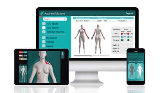 En ny app - der snart er tilgængelig i App-store - hjælper til nemmere at forklare lægen, hvor præcist på kroppen det gør ondt. Foto: Aglance Solutions.