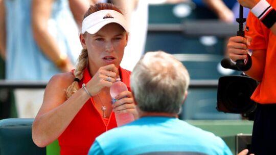 Caroline Wozniacki og Piotr Wozniacki havde mandag en diskussion for åben skærm.