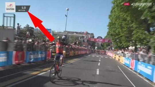 Luka Pibernik jubler over etapesejren i Giro d'Italia, men det var en omgang for tidligt.