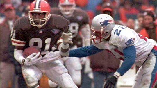 Michael Jackson (tv) i kamp for Cleveland Browns mod New England Patriots. Arkivfoto.