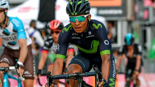 epa05959777 Colombian rider Nairo Quintana of the Movistar Team crosses the finish line during the 7th stage of the 100th Giro d'Italia cycling race, over 224 km from Castrovillari to Alberobello, Italy, 12 May 2017. EPA/ALESSANDRO DI MEO