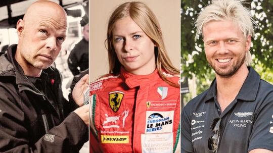 Tre af de danskere som skal deltage i årets Le Mans-løb: Jan Magnussen, Christina Nielsen og Nicki Thiim