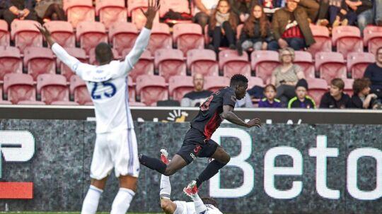 Mathias 'Zanka' Jørgensen (tv og FCK måtte notere sæsonens første Superliga-nederlag, da det blev 2-3 ude mod FCM