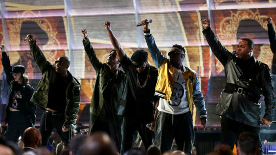 "Tribe Called Quest and Anderson Paak perform a medley of ""Award Tour, "" ""Movin Backwards"" and ""We the People"" at the 59th Annual Grammy Awards in Los Angeles, California, U.S. , February 12, 2017. REUTERS/Lucy Nicholson"