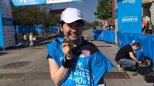 Yuuki Imai, 20 år, var det allersidse, der passerede målstregen i Copenhagen Marathon søndag eftermiddag.